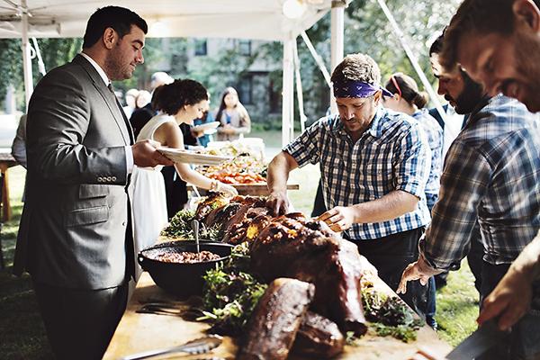 Hog roast winter wedding
