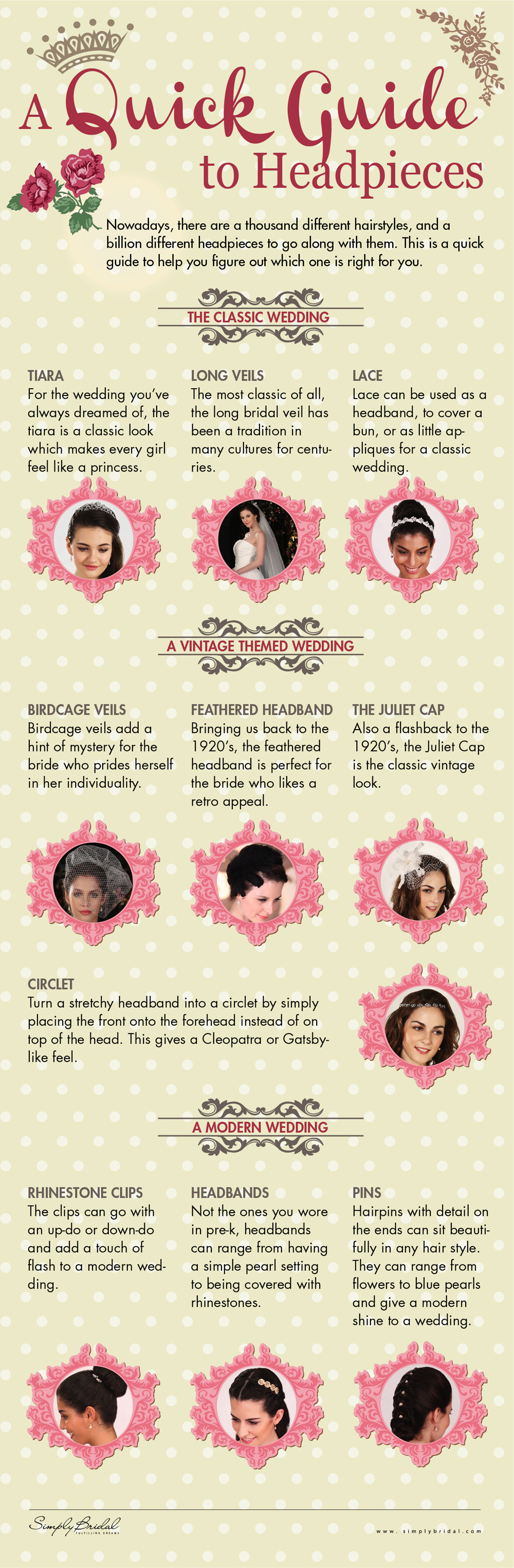 A Guide to Headpieces by SimplyBridal