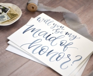 Maid Of Honor Proposal Watercolor Card